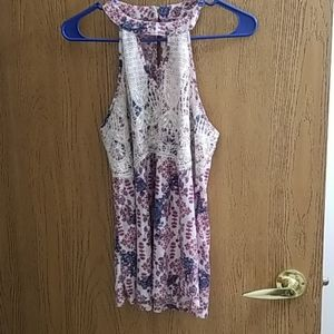 Rewind,Lace Tank With Floral Pattern,Large